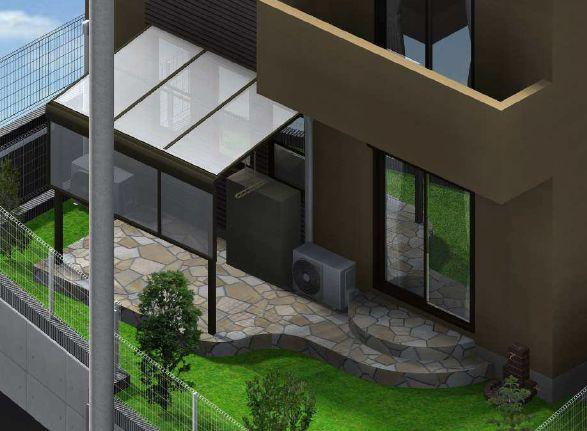 洋風の石貼りテラスと芝庭