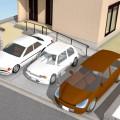 車3台分のファサード