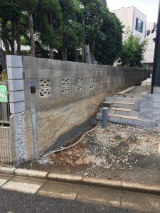 隣地境界ブロック補修